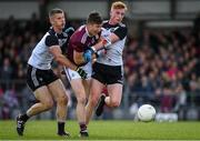 19 May 2019; Johnny Heaney of Galway in action against Adrian McIntyre and Seán Carrabine of Sligo during the Connacht GAA Football Senior Championship semi-final match between Sligo and Galway at Markievicz Park in Sligo. Photo by Harry Murphy/Sportsfile