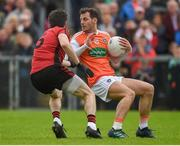 19 May 2019; Jamie Clarke of Armagh in action against Ryan McAleenan of Down during the GAA Football Senior Championship quarter-final match between Down and Armagh at Páirc Esler in Newry. Photo by Philip Fitzpatrick/Sportsfile