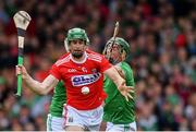 19 May 2019; Séamus Harnedy of Cork takes a shot on goal, under pressure from Seán Finn, right, and Kyle Hayes of Limerick, that was saved by Limerick goalkeeper Nickie Quaid during the Munster GAA Hurling Senior Championship Round 2 match between Limerick and Cork at the LIT Gaelic Grounds in Limerick. Photo by Piaras Ó Mídheach/Sportsfile