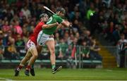 19 May 2019; Gearóid Hegarty of Limerick in action against Mark Coleman of Cork during the Munster GAA Hurling Senior Championship Round 2 match between Limerick and Cork at the LIT Gaelic Grounds in Limerick. Photo by Diarmuid Greene/Sportsfile