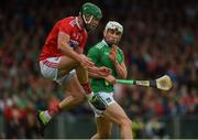 19 May 2019; Aaron Gillane of Limerick and Eoin Cadogan of Cork clash during the Munster GAA Hurling Senior Championship Round 2 match between Limerick and Cork at the LIT Gaelic Grounds in Limerick. Photo by Diarmuid Greene/Sportsfile
