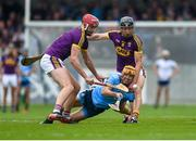 19 May 2019; Eamon Dillon of Dublin in action against Paudie Foley, left, and Liam Óg McGovern of Wexford during the Leinster GAA Hurling Senior Championship Round 2 match between Dublin and Wexford at Parnell Park in Dublin. Photo by Daire Brennan/Sportsfile