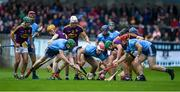 19 May 2019; Matthew O'Hanlon of Wexford attempts to lift the ball surrounded by Dublin and Wexford players during the Leinster GAA Hurling Senior Championship Round 2 match between Dublin and Wexford at Parnell Park in Dublin. Photo by Daire Brennan/Sportsfile