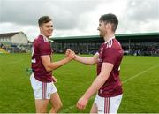19 May 2019; Martin Farragher,right, and Robert Finnerty of Galway embrace following the Connacht GAA Football Senior Championship semi-final match between Sligo and Galway at Markievicz Park in Sligo. Photo by Harry Murphy/Sportsfile