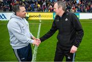 19 May 2019; Wexford manager Davy Fitzgerald and Dublin manager Mattie Kenny shake hands after the Leinster GAA Hurling Senior Championship Round 2 match between Dublin and Wexford at Parnell Park in Dublin. Photo by Daire Brennan/Sportsfile
