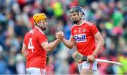19 May 2019; Cork players Niall O'Leary, left, and Darragh Fitzgibbon celebrate after the Munster GAA Hurling Senior Championship Round 2 match between Limerick and Cork at the LIT Gaelic Grounds in Limerick. Photo by Piaras Ó Mídheach/Sportsfile