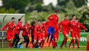 19 May 2019; The Cork team celebrate at the final whistle of the Under 16 SFAI Subway Championship Final match between DDSL and Cork at Mullingar Athletic in Gainstown, Westmeath. Photo by Ramsey Cardy/Sportsfile