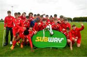 19 May 2019; The Cork team celebrate following the Under 16 SFAI Subway Championship Final match between DDSL and Cork at Mullingar Athletic in Gainstown, Westmeath. Photo by Ramsey Cardy/Sportsfile