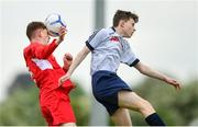 19 May 2019; Ian Drinan of Cork in action against Jack Warren of DDSL during the Under 16 SFAI Subway Championship Final match between DDSL and Cork at Mullingar Athletic in Gainstown, Westmeath. Photo by Ramsey Cardy/Sportsfile