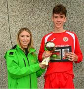 19 May 2019; Cormaic Kelly of Cork receives the Man of the match award from Kirby Axon, Marketing Executive, Subway, during the Under 16 SFAI Subway Championship Final match between DDSL and Cork at Mullingar Athletic in Gainstown, Westmeath. Photo by Ramsey Cardy/Sportsfile