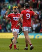 19 May 2019; Niall O'Leary, left, and Darragh Fitzgibbon of Cork celebrate after the Munster GAA Hurling Senior Championship Round 2 match between Limerick and Cork at the LIT Gaelic Grounds in Limerick. Photo by Diarmuid Greene/Sportsfile