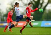 19 May 2019; Ethan Giltinan of Cork in action against Matthew O'Brien of DDSL during the Under 16 SFAI Subway Championship Final match between DDSL and Cork at Mullingar Athletic in Gainstown, Westmeath. Photo by Ramsey Cardy/Sportsfile