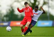 19 May 2019; Jack Dawson of Cork in action against Madjid Musod of DDSL during the Under 16 SFAI Subway Championship Final match between DDSL and Cork at Mullingar Athletic in Gainstown, Westmeath. Photo by Ramsey Cardy/Sportsfile