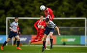 19 May 2019; Ollie Kendrick of DDSL in action against John Fitzgerald of Cork during the Under 16 SFAI Subway Championship Final match between DDSL and Cork at Mullingar Athletic in Gainstown, Westmeath. Photo by Ramsey Cardy/Sportsfile