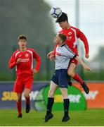 19 May 2019; Jack Cunningham of DDSL in action against Conor Hanley of Cork during the Under 16 SFAI Subway Championship Final match between DDSL and Cork at Mullingar Athletic in Gainstown, Westmeath. Photo by Ramsey Cardy/Sportsfile