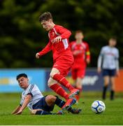 19 May 2019; John Fitzgerald of Cork in action against Ryan Reape of DDSL during the Under 16 SFAI Subway Championship Final match between DDSL and Cork at Mullingar Athletic in Gainstown, Westmeath. Photo by Ramsey Cardy/Sportsfile