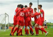 19 May 2019; Cork players celebrate a goal by Shayne Browne during the Under 16 SFAI Subway Championship Final match between DDSL and Cork at Mullingar Athletic in Gainstown, Westmeath. Photo by Ramsey Cardy/Sportsfile