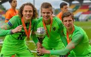 19 May 2019; Netherlands goalkeepers, from left, Tein Troost, Calvin Raatsie and Hugo Wentges celebrate with the trophy after the 2019 UEFA U17 European Championship Final match between Netherlands and Italy at Tallaght Stadium in Dublin, Ireland. Photo by Brendan Moran/Sportsfile