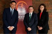 19 May 2019; The Board of the Football Association of Ireland has welcomed UEFA's agreement to a request for support with the secondment of Noel Mooney to the FAI as General Manager for Football Services and Partnerships. UEFA's Head of National Association Business Development, Noel Mooney will commence the secondment on June 3rd as the FAI builds for the future and continues to work in partnership with key stakeholders to achieve good governance. Noel Mooney will spend six months with the FAI in the role before returning to UEFA, as agreed, on November 30th.  He will initially assess the FAI's requirements and will co-ordinate future support and expertise in finance and other areas from UEFA and FIFA. The appointment of Noel Mooney will allow Rea Walshe to take up the role of Chief Operating Officer where she will continue to lead the process of Governance and Reform. Pictured are, from left, Noel Mooney of UEFA, FAI President Donal Conway and FAI Interim Chief Executive Rea Walshe ahead of the UEFA U17 European Championship Final at Tallaght Stadium in Dublin. Photo by Brendan Moran/Sportsfile