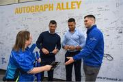 18 May 2019;Rob Kearney, Adam Byrne and Conor O'Brien of Leinster sign autographs at the Guinness PRO14 semi-final match between Leinster and Munster at the RDS Arena in Dublin. Photo by Harry Murphy/Sportsfile