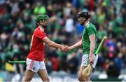 19 May 2019; Séamus Harnedy of Cork and Diarmaid Byrnes of Limerick exchange a handshake after the the Munster GAA Hurling Senior Championship Round 2 match between Limerick and Cork at the LIT Gaelic Grounds in Limerick. Photo by Diarmuid Greene/Sportsfile
