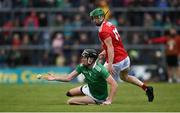 19 May 2019; Diarmaid Byrnes of Limerick in action against Séamus Harnedy of Cork during the Munster GAA Hurling Senior Championship Round 2 match between Limerick and Cork at the LIT Gaelic Grounds in Limerick. Photo by Diarmuid Greene/Sportsfile