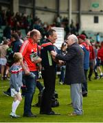 19 May 2019; Cork manager John Meyler is congratulated by former Cork county board secretary Frank Murphy after the Munster GAA Hurling Senior Championship Round 2 match between Limerick and Cork at the LIT Gaelic Grounds in Limerick. Photo by Diarmuid Greene/Sportsfile