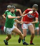 19 May 2019; Peter Casey of Limerick in action against Robert Downey of Cork during the Munster GAA Hurling Senior Championship Round 2 match between Limerick and Cork at the LIT Gaelic Grounds in Limerick. Photo by Diarmuid Greene/Sportsfile