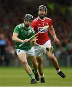 19 May 2019; Graeme Mulcahy of Limerick in action against Mark Ellis of Cork during the Munster GAA Hurling Senior Championship Round 2 match between Limerick and Cork at the LIT Gaelic Grounds in Limerick. Photo by Diarmuid Greene/Sportsfile