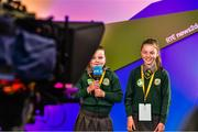 20 May 2019; Cathleen Moorehouse, left and Reneé McCabe, St. Josephs National School, Arklow, Co. Wicklow pictured on the RTÉ stand at the JEP National Showcase Day which took place in RDS Simmonscourt, Ballsbridge, Dublin. Photo by Ray McManus/Sportsfile