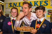 20 May 2019; Ryan Tubridy tries out some of the SNi Bakes from Scoil Naomh Iosaf in Baltinglass, Wicklow. Ryan is photographed with Erica Gleeson and Diarmuid Wolfe at the JEP National Showcase Day which took place in RDS Simmonscourt, Ballsbridge, Dublin. Photo by Ray McManus/Sportsfile