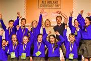 20 May 2019; At Junior Entrepreneur All Ireland Showcase at the RDS today - Marketing Gurus: Alan Walsh and his class from Naomh Padraig Mixed, Baile Haol, Kilkenny pick up the Marketing Gurus award for their work on Coffee Scrub, a lavender-scented hand and body scrub made from re-cycled coffee from a local restaurant. Also pictured is Julie Sinnamon , CEO,  Enterprise Ireland who presented the award at the JEP National Showcase Day which took place in RDS Simmonscourt, Ballsbridge, Dublin. Photo by Ray McManus/Sportsfile