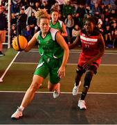 18 May 2019; Ailbhe O'Connor of Liffey Celtics Basketball Club in action against Chantell Alford of Fr Mathews Basketball Club in the Womens Final between Liffey Celtics and  Fr Mathews Basketball Club at the second annual Hula Hoops 3x3 Basketball Championships at Bray Seafront in Co.Wicklow. Photo by Ray McManus/Sportsfile