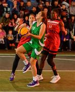 18 May 2019; Ciara Bracken of Liffey Celtics Basketball Club in action against Niamh Dwyer and Chantell Alford of Fr Mathews Basketball Club in the Womens Final between Liffey Celtics and Fr Mathews Basketball Club at the second annual Hula Hoops 3x3 Basketball Championships at Bray Seafront in Co.Wicklow. Photo by Ray McManus/Sportsfile