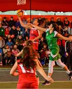 18 May 2019; Grainne Dwyer of Fr Mathews Basketball Club in action against Aine O'Connor of Liffey Celtics Basketball Club in the Womens Final between Liffey Celtics and  Fr Mathews Basketball Club at the second annual Hula Hoops 3x3 Basketball Championships at Bray Seafront in Co.Wicklow. Photo by Ray McManus/Sportsfile