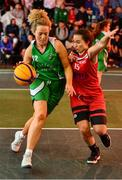 18 May 2019; Ailbhe O'Connor of Liffey Celtics Basketball Club in action against Amy Corkery of Fr Mathews Basketball Club in the Womens Final between Liffey Celtics and  Fr Mathews Basketball Club at the second annual Hula Hoops 3x3 Basketball Championships at Bray Seafront in Co.Wicklow. Photo by Ray McManus/Sportsfile
