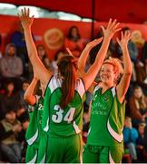 18 May 2019; Liffey Celtics Basketball Club players Ciara Bracken, left, Aine O'Connor and Ailbhe O'Connor celebrate at the end of the Womens Final between Liffey Celtics and  Fr Mathews Basketball Club at the second annual Hula Hoops 3x3 Basketball Championships at Bray Seafront in Co.Wicklow. Photo by Ray McManus/Sportsfile