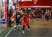 18 May 2019; Tomas Banys of Ulster University Elks Basketball in action against Puff Summers of Templeogue Basketball Club during the Mens Final between Ulster University Elks Basketball and Templeogue Basketball Club at the second annual Hula Hoops 3x3 Basketball Championships at Bray Seafront in Co.Wicklow. Photo by Ray McManus/Sportsfile