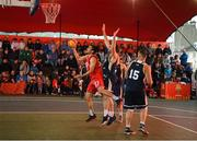18 May 2019; Neil Randolph of Templeogue Basketball Club in action against Conall Mullan of Ulster University Elks Basketball during the Mens Final between Ulster University Elks Basketball and Templeogue Basketball Club at the second annual Hula Hoops 3x3 Basketball Championships at Bray Seafront in Co.Wicklow. Photo by Ray McManus/Sportsfile