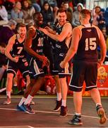 18 May 2019; Ulster University Elks Basketball players Shane O'Connor, Daniel Stewart, 10, Conall Mullan, and Tomas Banys, right, celebrate after the Mens Final between Ulster University Elks Basketball and Templeogue Basketball Club at the second annual Hula Hoops 3x3 Basketball Championships at Bray Seafront in Co.Wicklow. Photo by Ray McManus/Sportsfile