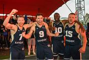 18 May 2019; Ulster University Elks Basketball players Shane O'Connor, 7, Conall Mullan, Daniel Stewart, 10, and Tomas Banys, right, celebrate after the Mens Final between Ulster University Elks Basketball and Templeogue Basketball Club at the second annual Hula Hoops 3x3 Basketball Championships at Bray Seafront in Co.Wicklow. Photo by Ray McManus/Sportsfile