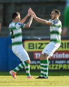 20 May 2019; Aaron Greene of Shamrock Rovers celebrates with Joey O'Brien after scoring his sides first goal during the SSE Airtricity League Premier Division match between Finn Harps v Shamrock Rovers at Finn Park in Ballybofey, Co.Donegal. Photo by Oliver McVeigh/Sportsfile