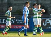 20 May 2019; Aaron Greene of Shamrock Rovers celebrates with Ronan Finn after scoring his sides first goal during the SSE Airtricity League Premier Division match between Finn Harps v Shamrock Rovers at Finn Park in Ballybofey, Co.Donegal. Photo by Oliver McVeigh/Sportsfile