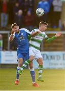 20 May 2019; Nathan Boyle of Finn Harps in action against Trevor Clarke of Shamrock Rovers during the SSE Airtricity League Premier Division match between Finn Harps v Shamrock Rovers at Finn Park in Ballybofey, Co.Donegal. Photo by Oliver McVeigh/Sportsfile