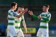 20 May 2019; Dylan Watts of Shamrock Rovers celebrates Jack Byrne and Trevor Clarke after scoring his sides second goal during the SSE Airtricity League Premier Division match between Finn Harps v Shamrock Rovers at Finn Park in Ballybofey, Co.Donegal. Photo by Oliver McVeigh/Sportsfile