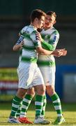 20 May 2019; Dylan Watts of Shamrock Rovers celebrates with Trevor Clarke after scoring his sides second goal during the SSE Airtricity League Premier Division match between Finn Harps v Shamrock Rovers at Finn Park in Ballybofey, Co.Donegal. Photo by Oliver McVeigh/Sportsfile