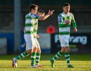 20 May 2019; Dylan Watts of Shamrock Rovers, left,celebrates after scoring his sides second goal during the SSE Airtricity League Premier Division match between Finn Harps v Shamrock Rovers at Finn Park in Ballybofey, Co.Donegal. Photo by Oliver McVeigh/Sportsfile