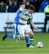 20 May 2019; Dylan Watts of Shamrock Rovers in action against Tony McNamee of Finn Harps during the SSE Airtricity League Premier Division match between Finn Harps v Shamrock Rovers at Finn Park in Ballybofey, Co.Donegal. Photo by Oliver McVeigh/Sportsfile