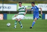 20 May 2019; Ronan Finn of Shamrock Rovers in action against Mark Coyle of Finn Harps during the SSE Airtricity League Premier Division match between Finn Harps v Shamrock Rovers at Finn Park in Ballybofey, Co.Donegal. Photo by Oliver McVeigh/Sportsfile