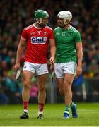 19 May 2019; Eoin Cadogan of Cork and Aaron Gillane of Limerick during the Munster GAA Hurling Senior Championship Round 2 match between Limerick and Cork at the LIT Gaelic Grounds in Limerick. Photo by Diarmuid Greene/Sportsfile